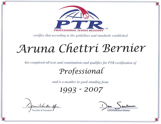 tennis certification  Certifications